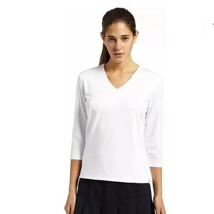 NWT Bolle White 3/4 Sleeve Tennis Top V-Neck Large